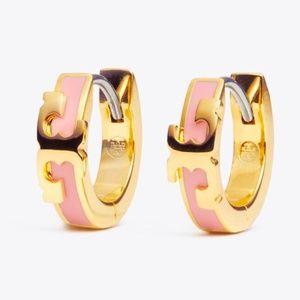 Tory Burch earrings logo pink earrings